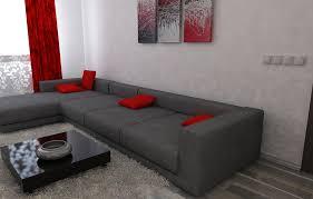 bilder 3d interieur wohnzimmer rot grau 2
