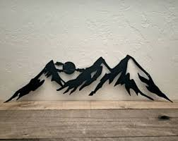 Rustic Mountain Decor Metal Wall Art Cabin Ski Mountains Silhouette Home