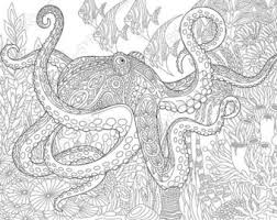 Adult Coloring Pages Octopus And Fish Zentangle Doodle For Adults Digital