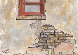 Window With Crumbling Plaster Painting by Ken Powers