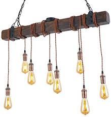 hws pendelleuchte holz vintage hängele esstisch hängeleuchte retro industrial schlafzimmer wohnzimmer leuchtmittel e27 pendelle höhenverstellbar