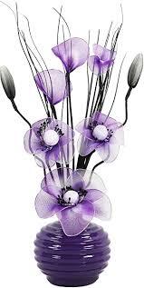 flourish kunstblumen im topf dekoration wohnung modern deko wohnzimmer geschenk 32cm lila weiß