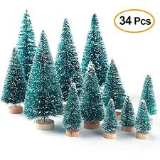 Mini Christmas Trees 34 Pack Miniature Pine Frosted Sisal With Wood Base Bottle Brush Winter Snow Ornaments Tabletop For Xmas Party