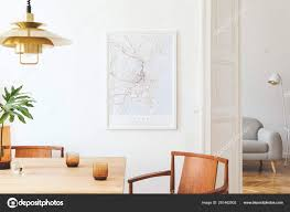 Stylish Eclectic Dining Room Interior Mock Poster Map ...