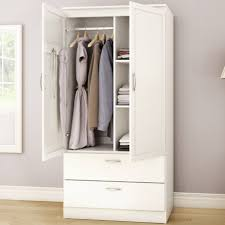 Armoire Cabinet Door Hinges by White Armoire Bedroom Clothes Storage Wardrobe Cabinet With 2