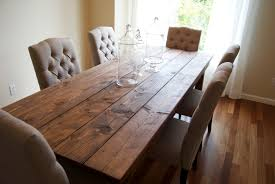 Country Style Long Rustic Farmhouse Dining Table Made From Reclaimed Wood With White Tufted Chairs Fabric Cover And High Back Ideas