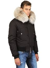 dsquared nylon canvas down jacket w fur collar in black for men