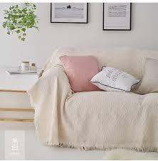 solide sofa abdeckung baumwolle polyester sofa abdeckungen für wohnzimmer beige grau rosa blau sofa handtuch luxus decke quaste abdeckung