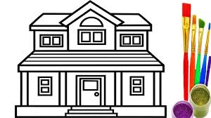 How To Draw House Coloring Pages Youtube Videos For Kids Learning Throughout