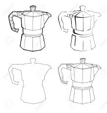 Coffee Percolator Clip Art Hand Drawn Stock Vector