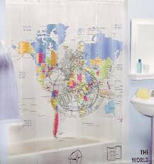 shower curtain world map design World Map Shower Curtain Ideas