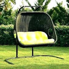 Outdoor Swing Chair Round Seat Metal Steel Frame Garden Cushions