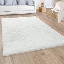 hochflor teppich wohnzimmer fellteppich kunstfell shaggy flauschig einfarbig weiß grösse 200x290 cm