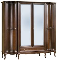 casa padrino luxus jugendstil schlafzimmerschrank dunkelbraun 206 5 x 63 5 x h 206 cm massivholz kleiderschrank mit 4 türen und schublade barock