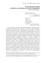 PDF A Carta Guarani Kaiowá E O Direito A Uma Literatura Com Terra E