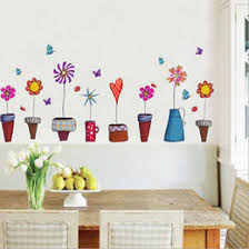 Flowerpot Butterfly Wall Cover Stickers 3D Sticker 3d Home Dinig Room Kid Decor Adesivos Para Parede E5M1 Order18no Tr