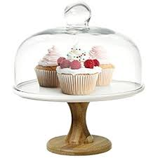 9 Inch Round Wood White Ceramic Pedestal Dessert Cake Stand Serving Platter With Clear