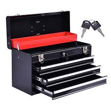 Portable Garage Mechanic Tool Cabinet Box With 3 Drawers Hardware