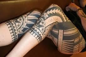 Polynesian Tattoo On Leg