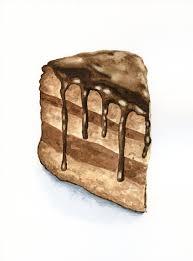 Slice of Chocolate Cake ORIGINAL Painting por ForestSpiritArt £25 00