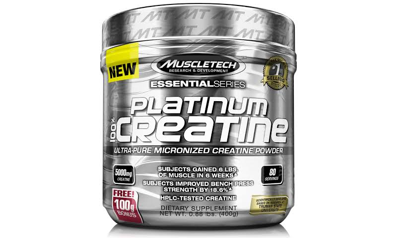 Muscletech Products Platinum 100 Creatine UltraPure Micronized Creatine Powder Essential Series Unflavored 5000 mg. 0.88 lbs.