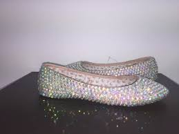 100 Ab Flat Bedazzled Ballet S In Nude With AB Crystals Crystals By Nicole