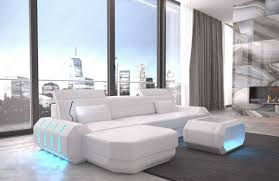 100 Modren Sofas Leather Sofa Brooklyn L Shape With LED