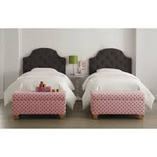 Skyline Grey Tufted Headboard by Bedroom New Pink Bedroom With Beamed Walls And Bed With