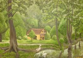 100 House In Forest In Forest Painting By Liubov Aristova Artmajeur