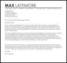 Automotive Service Manager Cover Letter Sample
