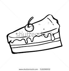 slice cake with doodle art and hand drawing style