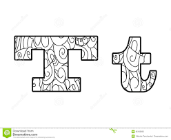 Anti Coloring Book Alphabet The Letter T Vector Illustration