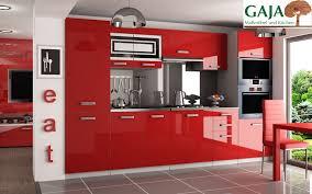 küche 300 cm rot hochglanz mit hochschrank f ofen und kühlschrank