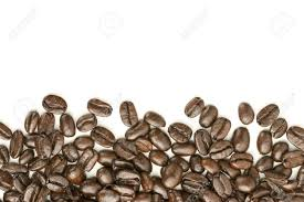 Coffee Beans On White Background Heap Out From Edge For Border Design Element Stock Photo
