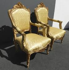 French Provincial Accent Chair by Pair Vintage French Provincial Rococo Gold Gilt Carved Wood Silk