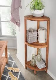 eckregal trixy teakholz 30 x 30 x 113 cm badezimmerregal standregal badezimmer