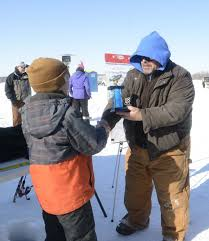 Finally Weather Cooperates For Elks Lodge Youth Ice Fishing Contest