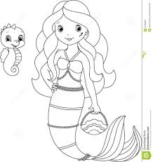 Download Coloring Pages Seahorse Page New Mermaid Colouring 3