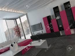 attraktive moderne architektur wohnzimmer design mit glasfenster mit pink schwarz und weiß möbeln eingerichtet