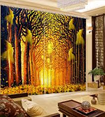 moderne fenster vorhang für wohnzimmer blackout schlafzimmer vorhänge wald park gold vorhang stoff polyester hotel vorhänge