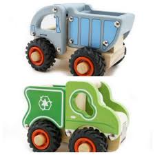 Wooden VehiclesDump Truck Police Van Ambulance Fire EngineCraneRecycle VanGreen Tractor Red