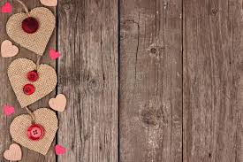 Download Side Border Of Valentines Day Burlap Hearts Over Rustic Wood Stock Illustration