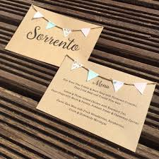 Rustic Double Sided Table Name Menu Cards With Miniature Fabric Bunting