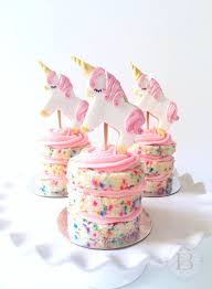 Mini Confetti Cakes with Unicorn Cookie Toppers by Brownie