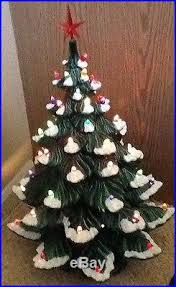 Vintage Atlantic Mold Ceramic Christmas Tree by Vintage 4 Piece Atlantic Mold Ceramic Christmas Tree Light Snow