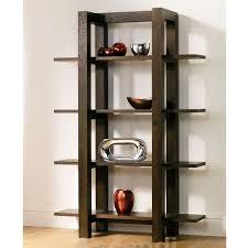antique design of wooden shelving unit in dark teak finish idea