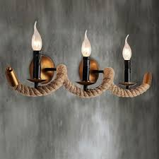 wave rope industry 3 light led wall sconce in country style