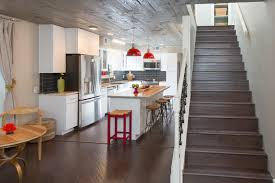 See The Beach Flip Renovation Red And Gray Kitchen
