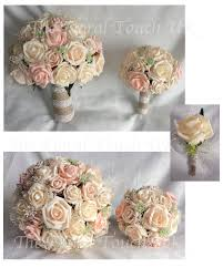 Blush Peach Rustic Vintage Style Wedding Bouquet