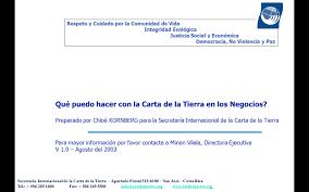 Presentacion De La Carta De La Tierra Para Negocios Earth Charter